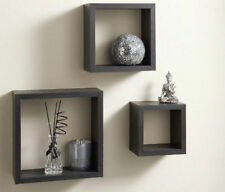 Floating cube shelves - set of 3 shelves wall mountable Units Storage  -  BLACK