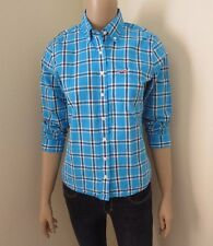 Hollister Womens Plaid Shirt Size Small Top Blouse Turquoise Blue & White