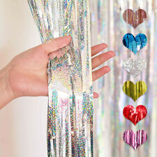 Metallic Foil Fringe Curtain Tinsel Photo Backdrop Party Birthday Door Decor US