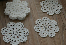 "Dozen White Round Crochet Small Snowflake Doilies 4"" Victorian Appliques Lot"