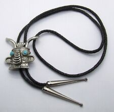 """38"""" Symbol Signed Tribal Mask Bolo Tie~Turquoise~Black Faux Leather~Silver Tone"""