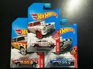 Lot of 3 - 2017 Hot Wheels 55 Chevy Bel Air Gasser (Red Edition), (Red) & (Blue)