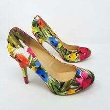 Ivanka Trump Satin Floral Fabric High Stiletto Heels Almond Toe Leather Size 9.5