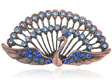 Bright Blue Stylish Rhinestone Jewel Beaded Peacock Pin Jewelry Brooch Design