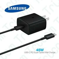 Original Samsung Galaxy 45 Watt USB-C PD Fast Wall Charger Adapter Type-C Cable