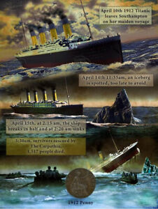 The Voyage & Sinking Of The Titanic Designed  1912 Original Penny Metal Plaque
