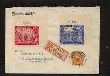Germany  580-581 on registered cover  1947  Leipzig fair      KL0326