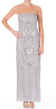 Sue Wong ~ Silver Gray Embellished Strapless Column Formal Gown 6 NEW