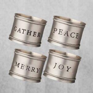Hearth & Hand Magnolia Napkin Rings Set Pewter Joy Peace Merry Gather Holiday