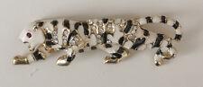 Vintage Enamel Crouching Cheetah Leopard Cougar Brooch Rhinestones Black & White