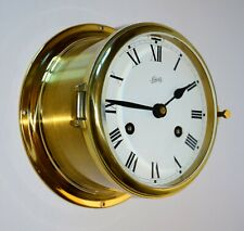 "Schatz Brass German Ships Bell Clock 6"" diameter"