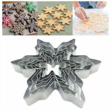 5 X Cutter Stainless Steel Slicer Christmas Snowflake Kitchen Cookie Moulds