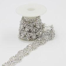 1yard Clear Crystal Rhinestone Silver Luxury Costume Chain Applique Flower Trims