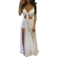 2PCS Set Women Lady Sheer Lace Crop Top Split Long Maxi Skirt Summer Beach Dress