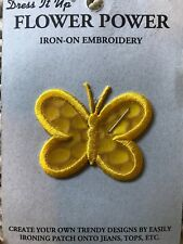 Dress it Up Flower Power Yellow Butterfly Embroidered Iron On Patch New