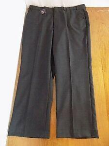 NEW Barrington Men's Wool Blend Dress Pants Sz W 42 X 30 L Charcoal Slacks NWT