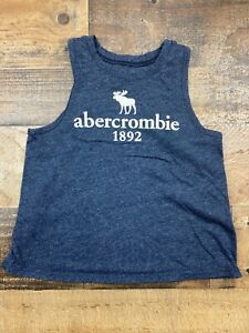 Abercrombie Kids Girls Sleeveless T Shirt Tank Top Size 5 6 Blue Logo Graphic