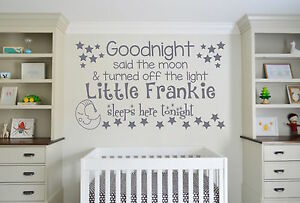 Goodnight Said The Moon, personalised childrens wall art vinyl decal sticker