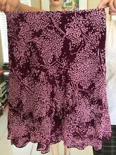 ANN TAYLOR LINED SKIRTY MAROON LAYERED 100% SILK SIZE 8