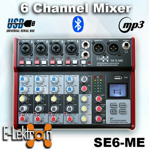 E-Lektron SE-6 Live Audio Mixer 6-Channel USB / Bluetooth / Soundcard / Phantom