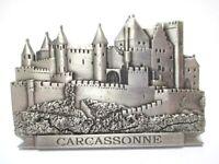 Carcassonne Festung Burg Metall Magnet Souvenir Frankreich silb