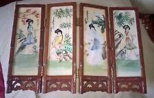 chinese handpainted hard stone screen