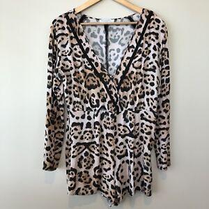 Talulah Swim Resort Long Sleeve Romper Shorts Size L Animal Print