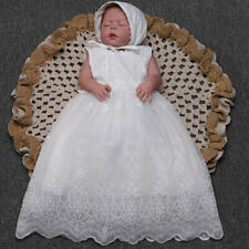 Baby Girls Formal Princess Gown Floral Embroidered Dress with Bonnet