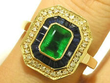 C1223 Magnificent 9ct Gold NATURAL Emerald,Sapphire & DIAMOND Engagement Ring