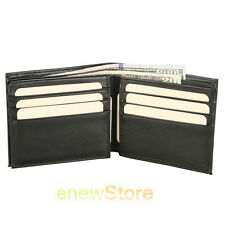 Mens Bifold Genuine Leather RFID Blocking Black Flap Card/ID Security Wallet