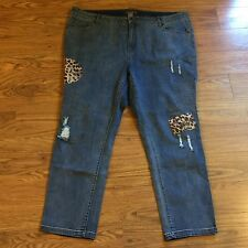 SU & LOLA 22W Woman's Denim Jeans Distressed Patches