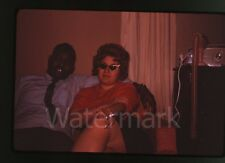 1963 amateur photo slide Man and Lady with cigarette cateye glasses radio