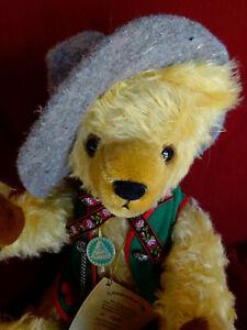 """HERMANN LE 1995 Octoberfest bear 19"""" / 48cm gold mohair with growler"""