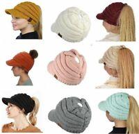 Women Winter Fall Knit Bun Ponytail Skully Warm Toboggan Beanie Brim Hat Cap