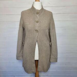 MONSOON Beige Brown Long Chunky Knit Cardigan (UK Size 16) Wool Angora Blend