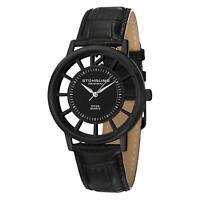 Stuhrling Winchester Del Sol Men's 40mm Black Calfskin Quartz Watch 388S.33551