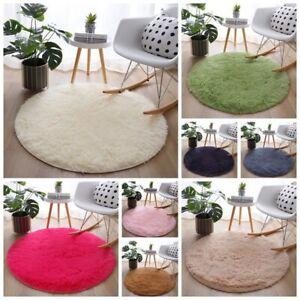 Round Floor Rug Fluffy Area Carpet Shaggy Soft LivingRoom Bedroom Multicolor Mat