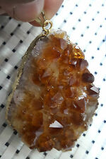 Citrine Stone Natural Druzy Geod Pendant For Wisdom*Prosperity*Happyness AAA+++