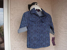 """AUTHENTIC """" ALMOST FAMOUS """" GIRLS DARK BLUE SIGNATURE LOGO BUTTON DOWN TOP"""