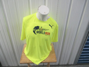 PUMA WINGS FOR LIFE WORLD RUN 2017 XL NEON GREEN SHIRT NEW W/ TAGS RUNNING