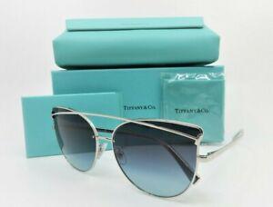 Tiffany & Co. TF3064 6001/9S Cat Eye Silver Blue Gradient Sunglasses 61mm w/Box