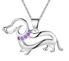 925Silver Plated Chain Amethyst CZ Crystal Gem Dachshund Sausage Dog Necklace