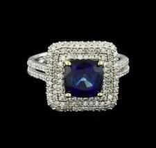 Deep Dark Blue Cushion Cut 3.00CT Sapphire With Pave Set Shiny CZ Fashion Ring