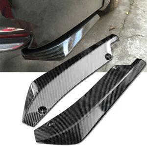 2pc Universal Carbon Fiber Rear Bumper Lip Diffuser Splitter Canard Protector EA
