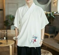 Summer Men's Loose Fit Embroidered Chinese style T-Shirts Tops Blouses Jacket