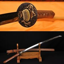 CLAY TEMPERED FULL TANG BLADE TIGER TSUBA JAPANESE SAMURAI SWORD KATANA SHARP