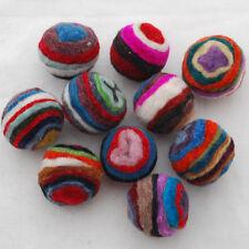 Assorted Striped Felt Balls - 100% Wool - 2.5cm -  20 Count