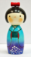 Usaburo Kokeshi Japanese Wooden Doll 8-13 Ajisaiwarabe (Girl in White Blue)