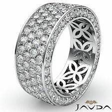 4 Row Pave Eternity Round Diamond Ring Womens Wedding Band 18k White Gold 3.5Ct