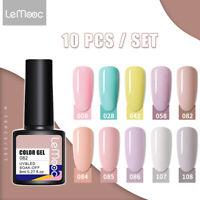 LEMOOC Nail Gel Polish set Soak off UV LED 10Colour Base Top Coat Nail Varnish